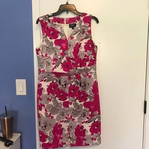White and pink floral Adrianna Papell petite dress